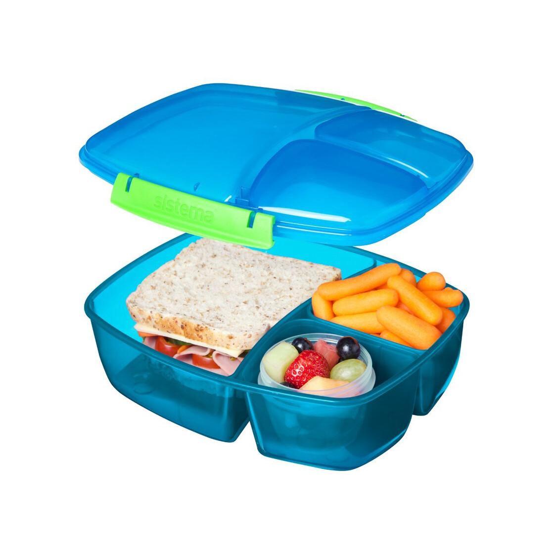 Blau 2 L Sistema Lunch Triple Split Lunchbox mit Joghurttopf
